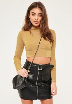 Petite Gold Slinky Crop Top