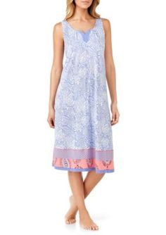 Ellen Tracy Women's Ikat Sleeveless Midi Gown - Ivory/Lilac - Xl