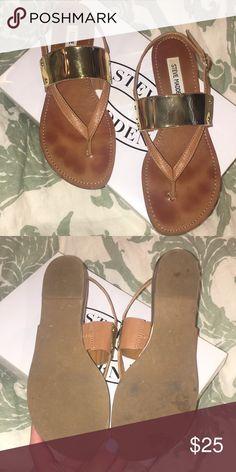 a8d1f7c16e8f64 Steve Madden Cuff Cognac Sandals Steve Madden Cuff Cognac Sandal size 8 tan  with a metallic