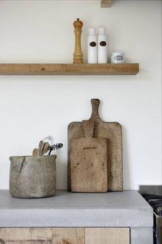 Industrial Wood Kitchen 17 Ideas For 2019 Concrete Kitchen, Concrete Wood, Cement, Concrete Countertops, Wood Wood, Rustic Wood, Home Design, Rustic Kitchen, Kitchen Decor