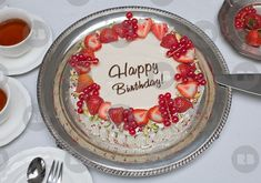 'Happy Birthday Strawberry Cake' Art Print by Museum Jobs, Hymen, Silver Platters, Strawberry Cakes, Job Posting, Videos Online, Cake Art, Yummy Cakes, Tack