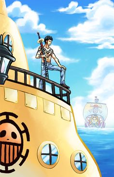 Trafalgar D. Water Law and his yellow Submarine One piece