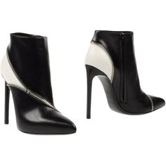 Yves Saint Laurent Ankle Boots ($771) ❤ liked on Polyvore featuring shoes, boots, ankle booties, heels, black, leather booties, heels stilettos, black bootie, high heels stilettos and leather boots