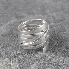 Curly Interwoven Sterling Silver Ring - rings