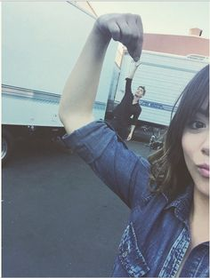 """Chloe Bennet and Luke Mitchell on the set of Agents of S.H.I.E.L.D."""