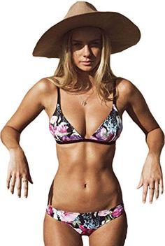 d6b9e6efa6 IF FEEL Womens Floral Printed Triangle Bandage Push Up Bikini Set Bathing  Suit Swimsuit Colorful Size
