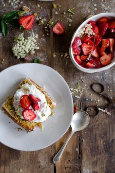 Pistachio pound cake with strawberries in lavender sugar