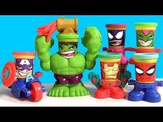 Play Doh CAN HEADS MARVEL Smashdown Hulk Featuring Iron Man, Spiderman, ...