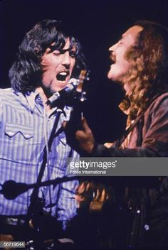 Woodstock was just the second gig of the recently formed folk rock supergroup Crosby, Stills, Nash & Young. Graham Nash and David Crosby duet above. (Photo by Fotos International/Getty Images) Woodstock Music, Woodstock Festival, Woodstock Performers, Beatles, Woodstock Pictures, Rock And Roll History, Crosby Stills & Nash, Laurel Canyon, Janis Joplin