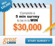 Complete a 5 minute #survey for your chance to #win a $30,000 Grand #Prize draw! #contest #cash #shopping #spree