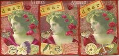 """Dear Heart"" made for the Lady In Red swap. Acrylic paint, stamping, oil pastel, watercolor, colored pencil, collage"