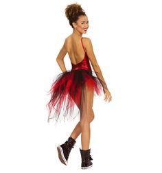 Classic red shows its sassy side in this tattered tulle bustle. Style - N7036