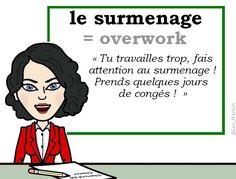 Le mot du jour : « le surmenage » [lə syʀmənaʒ] ⚙️⚙️⚙️ #FLE #WordoftheDay #Francais #learnfrench