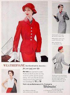 Weathervane Suits, February 1953. #vintage #fashion #suits #1950s