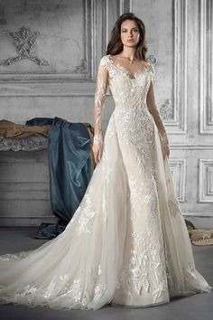 Demetrios Wedding Dress Style 766 : Sexy & feminine, this wedding dress is nothing short of enchanting. Feauturing a mermaid silhouette and long sleeves - lace & illusion finishings are the standout design elements of this gown Stunning Wedding Dresses, Wedding Dresses Photos, Perfect Wedding Dress, Bridal Wedding Dresses, Wedding Dress Styles, Dream Wedding Dresses, Beautiful Gowns, Tulle Wedding, Bridal Style