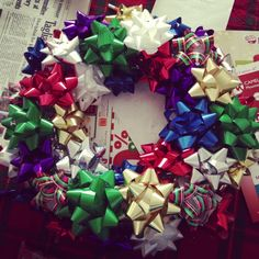 DIY bow wreath.