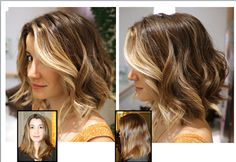 Tousled balayage bob. Perfect face framing highlights in the front.