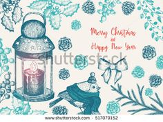 Christmas greeting card or invitation design. Vintage background with candle lamp, needles, cones, fir and bird. Xmas cute bird dressed in scarf and cap. Linear graphic. New year vector illustration.