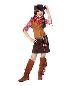 Love this Brown & Red Plaid Cowgirl Dress-Up Set - Kids & Tween on #zulily! #zulilyfinds
