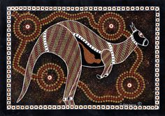 Aboriginal dot painting of a kangaroo, an by an indigenous Australian Aboriginal Artist - Ochre on card, Stanley Geebung, Circa 1995 Aboriginal Art For Kids, Aboriginal Dot Painting, Aboriginal Artists, Textile Artists, Aboriginal Tattoo, Aboriginal Dreamtime, Kunst Der Aborigines, Naidoc Week, Aboriginal Culture