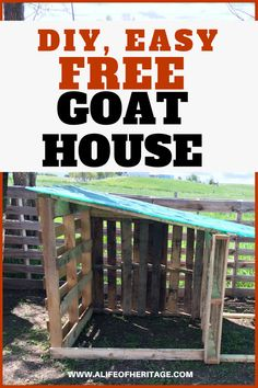 Raising goats: goat shelter for two goats. So easy to make and free. What could … Raising goats: goat shelter for two goats. So easy to make and free. What could be better? Build it fast and give your goats a great home. Goat Playground, Miniature Goats, Goat Shed, Goat Shelter, Animal Shelter, Goat House, Farm House, Happy Goat, Goat Care