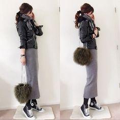 ファッション ファッション in 2020 Fall Fashion Skirts, Long Skirt Fashion, Winter Fashion, Fashion Outfits, Fashion Trends, Vision Board Diy, Japanese Fashion, Korean Fashion, Mode Outfits