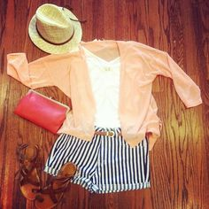 Pin stripped shorts, peach sweater