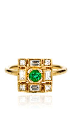 White Gold Ring with White Diamonds And Emeralds by Sabine G for Preorder on Moda Operandi