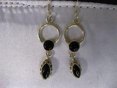 """1.1 TCW Marquise and Round Black Onyx 925 Sterling Silver Earrings 2"""" Drop #ArtisanHandcrafted #DropDangle"""