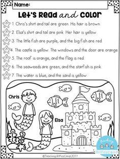 Read & Color Reading Comprehension Worksheets for Grade 1