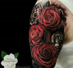 Hergestellt von Stella Luo Tätowierern in Toronto, Kanada - rose tattoos Unique Tattoos For Women, Rose Tattoos For Men, Tattoos For Guys, Forearm Tattoos, Body Art Tattoos, Tatoos, Tattoo Sleeve Designs, Sleeve Tattoos, Tatoo Rose