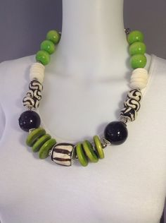 Bold African tribal style necklace - black, white, lime green by Afrigal Designs
