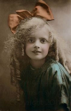 Little Girl With Large Bow - Tinted Photo