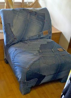 cd do this with one pair.....scrappy denim slipcover by The Slipcover Girl, via Flickr-