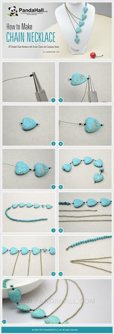 How to Make Chain Necklace - DIY Beaded Chain Necklace with Bronze Chains and Turquoise Beads @cbardell