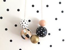 No. 49 // Hand Painted Wooden Bead Necklace by shoplulapearl