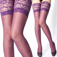 Coromose Sexy Lace Top Silicone Band Thigh High Stockings Pantyhose (Purple)