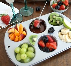 Inspired Edibles: DIY Chocolate Fondue for Two. I like the idea of using a muffin tin to serve all of the dipping stuff.