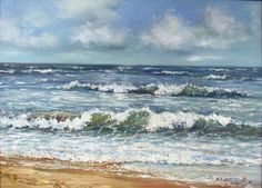 Baltic Sea Oil Painting on Canvas, Framed. Artist R.Krisjans