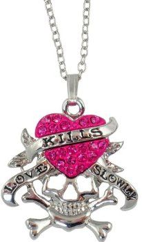 Designer Inspired Love Kills Slowly Dark Pink Crystal Heart and Skull Necklace <3 I'm soo getting this necklace!