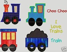 Woohoo Free Applique Patterns Download | Trains with train cars too