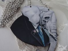 1 Elephant in a Suit Necklace Animal on a by PeculiarCollective