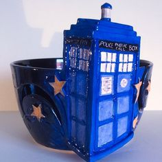 Made to order Tardis yarn bowl returns to earthwoolfire.etsy.com for a limited period.