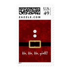 Santa Suit Christmas Ho Ho Ho yall typography Postage - red gifts color style cyo diy personalize unique
