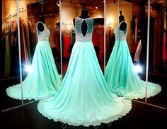 Mint A-Line Chiffon Prom or Pageant Dress-Fully Beaded Mesh Bodice-High Neckline-Keyhole Back-115BP0994700459