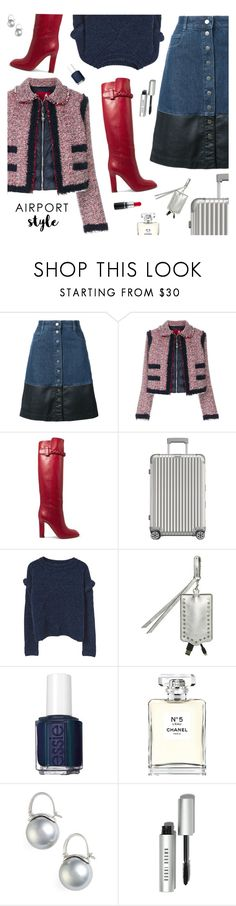 """Wanderlust Wonderful: Airport Style"" by sproetje ❤ liked on Polyvore featuring STELLA McCARTNEY, Moncler Gamme Rouge, Valentino, Rimowa, MANGO, Rebecca Minkoff, Essie, Chanel, Kate Spade and Bobbi Brown Cosmetics"