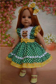 """Платье """"Кошки и горошки"""" №3 / Одежда для кукол / Шопик. Продать купить куклу / Бэйбики. Куклы фото. Одежда для кукол"""
