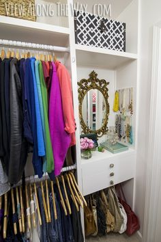 Stunning DIY closet on a budget! So many DIY ideas to copy and transform your own closet! (Seriously, this woman is a closet organizing GENIUS. Boutique Interior, Diy Interior, Closet Shelves, Closet Storage, Purse Storage, Wardrobe Storage, Closet Drawers, Master Closet, Closet Bedroom