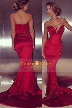 2015 #Evening #Dresses #Sweetheart Sleeveless Court Train Satin Zipper Up Back USD 116.99 CPPPNPZX257 - Cheappromprom.com