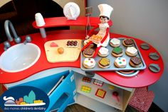 Looks like Hermey was busy over the weekend making lots of Elfin treats! Des Moines Children's Dentistry Elf on the Shelf Office of Dr. Rachael Revell, West Des Moines, IA #elfontheshelf #dentistry #creativeelfontheshelf #christmas  #children #kids #funny